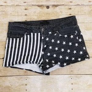 Black & White Stars & Stripes Denim Shorts